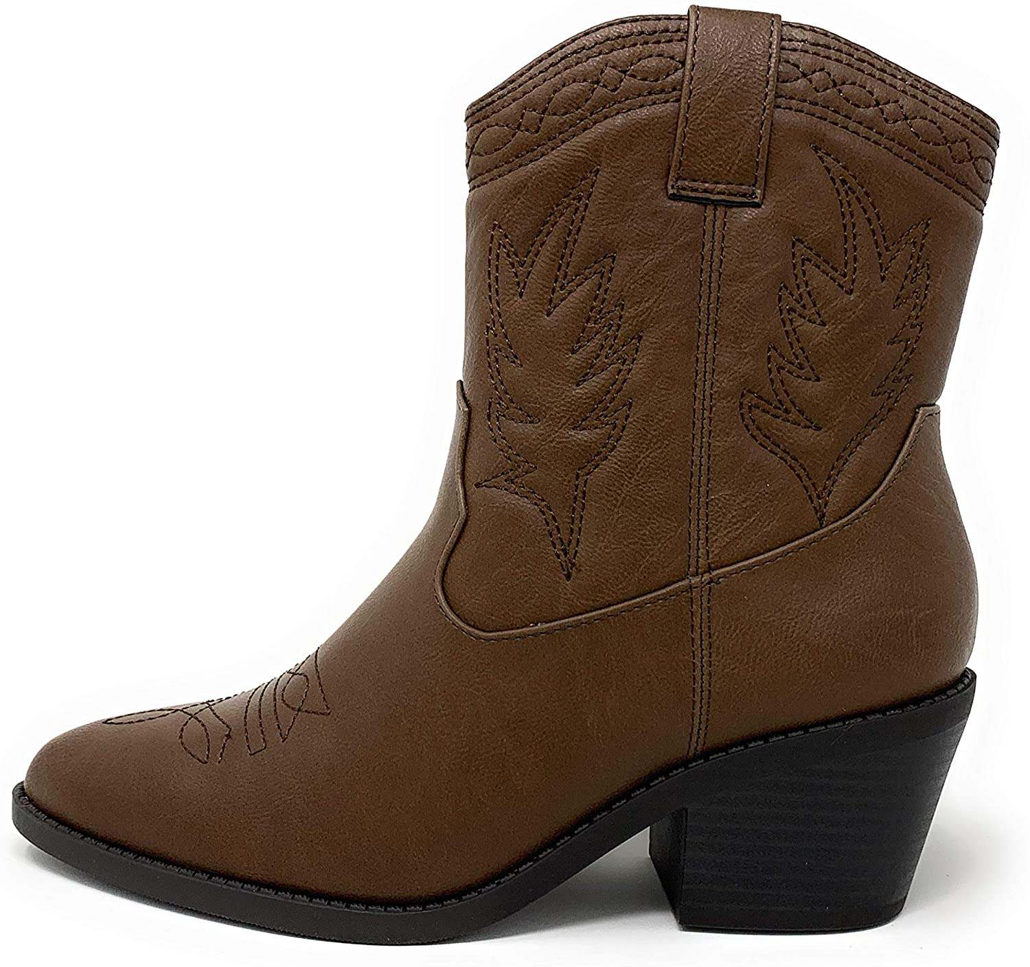 Soda Picotee Women Western Cowboy Cowgirl Stitched Ankle Boots (11, DK TAN PU)