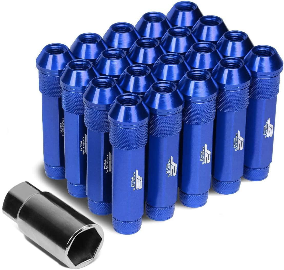 J2 Engineering LN-T7-027-15-BL 7075 Aluminum M12 x 1.5 25mm OD / 90mm 20x Lug Nut + 1x Key