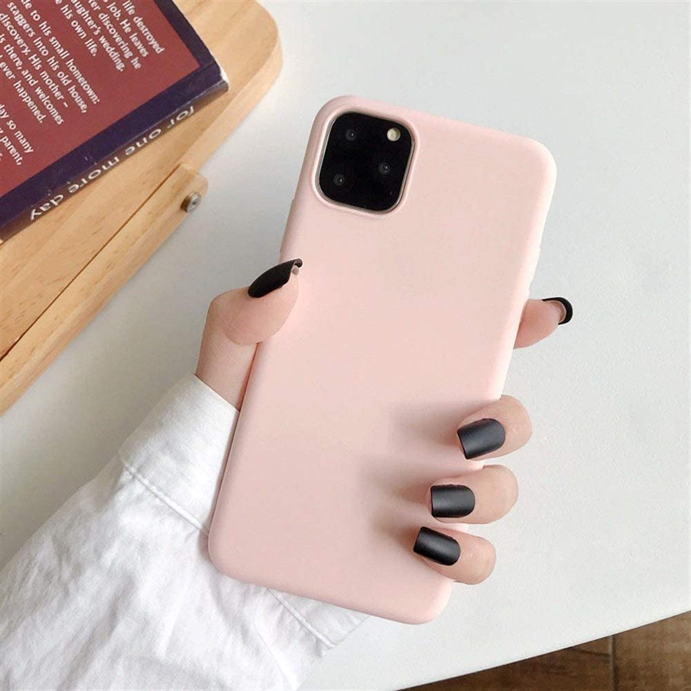 XINHUANG Solid Color Silicone Couples Cases for iPhone XR X XS Max 6 6S 7 8 Plus 11 11Pro Max Cute Candy Color Soft Simple Fashion Phone Case Light Pink, Size : IPhone11