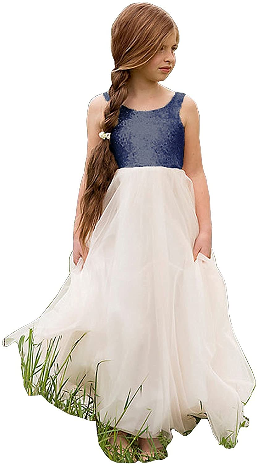 Wedding Sequin Flower Girl Dresses Tulle Pageant Party Evening Dance Gowns E164