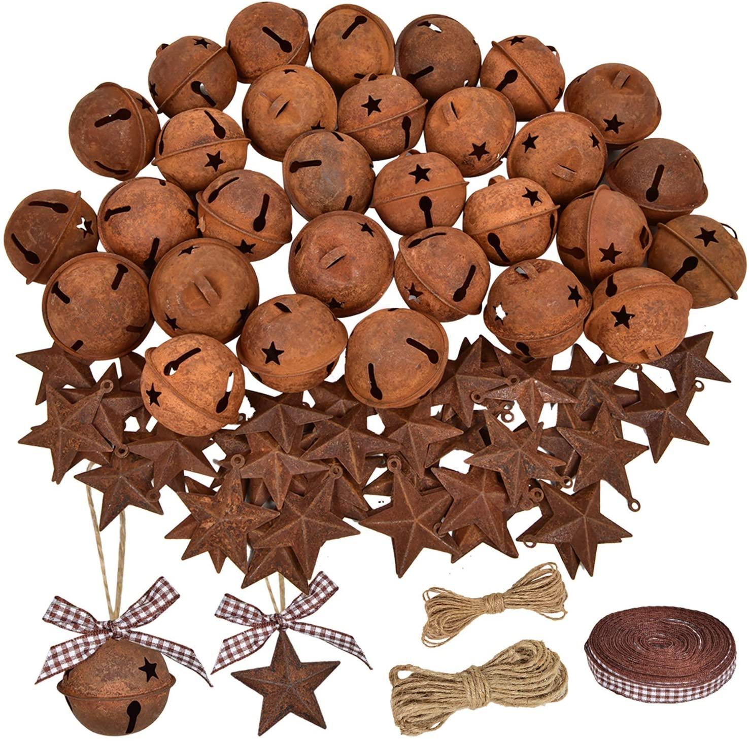 DearHouse 80 Pcs Rusty Metal Christmas Jingle Bells with Mini Rusted Metal Barn Stars, Sleigh Bells Rustic Craft Stars Cutouts with Jute Twine Plaid Ribbon for Christmas Tree Holiday Season Decor