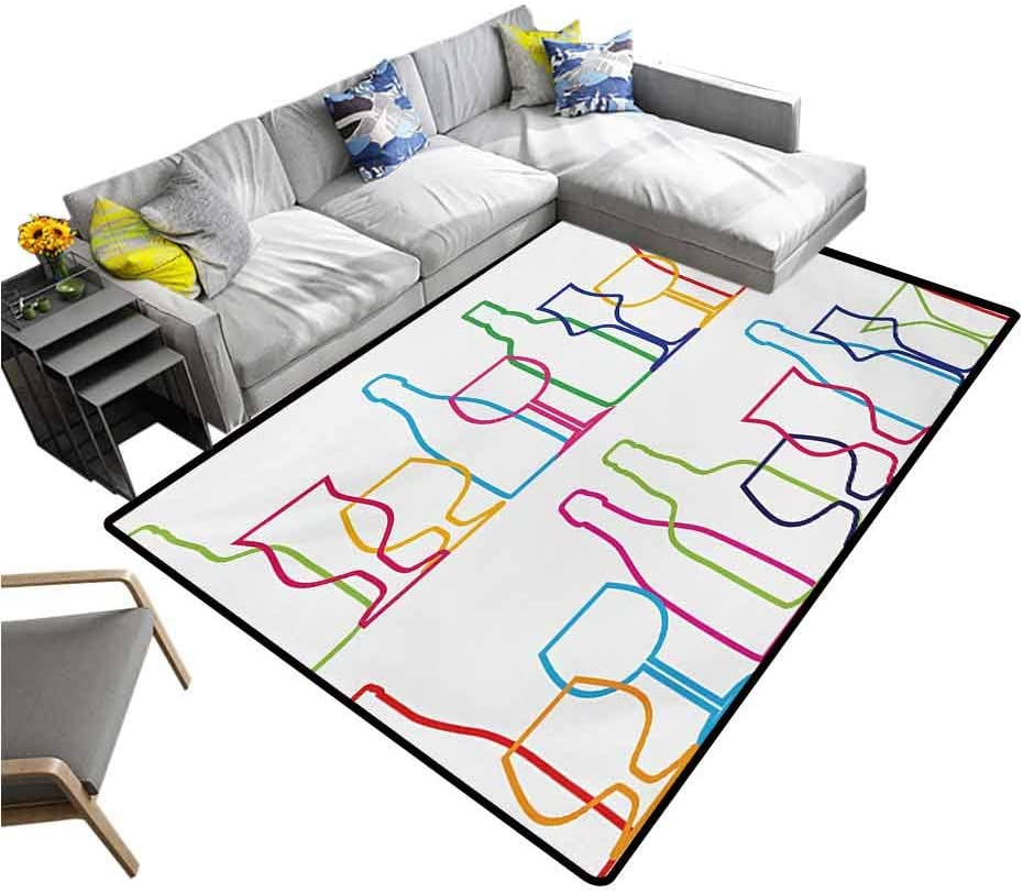 Wine Carpet Colorful Outline Bottles and Glasses Bar Party Drink Cocktails Modern Fun Collection Indoor/Outdoor Area Rugs Multicolor (5'7