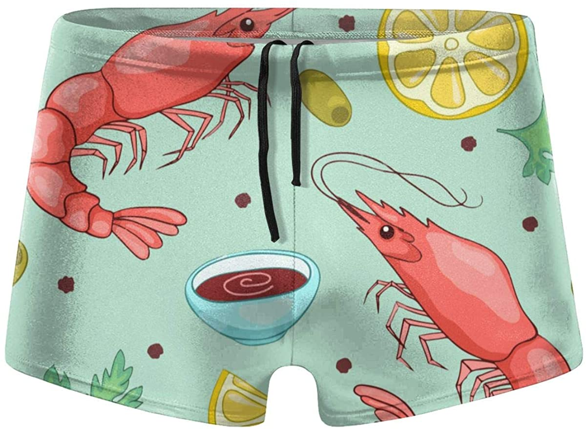 Red Lobster and Crab Lemon Men's Swimming Trunks Fitness Swimwear Boxer Pants Board Shorts
