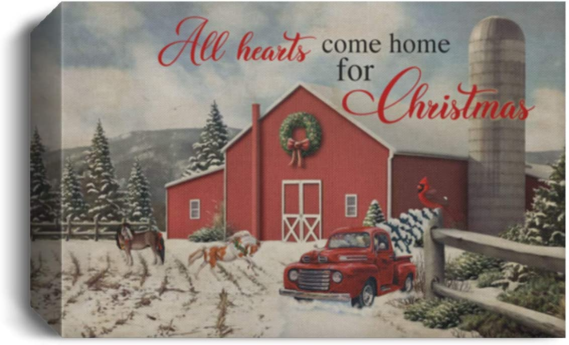 All Hearts Come Home for Christmas Gallery Framed Canvas Unframed Poster - Horse Red Truck Cardinal Wall Art, 48 x 32, 1.5 Deluxe Framed Canvas/White