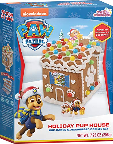 Paw Patrol Holiday Pup House - Crafty Cooking Kits - 7.25oz (206g) - Ready to Assemble and Decorate - Includes Cookies, Icing, and Candy Beads - Holiday Baking Kits for Kids