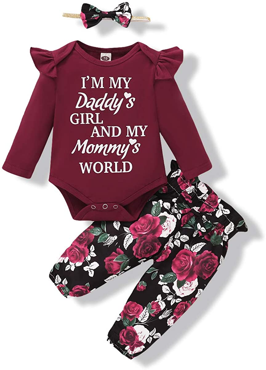 Baby Girl Clothes Newborn Girls Romper Outfits Ruffle Onesies Floral Pants and Headband Toddler Baby Girls' Clothing