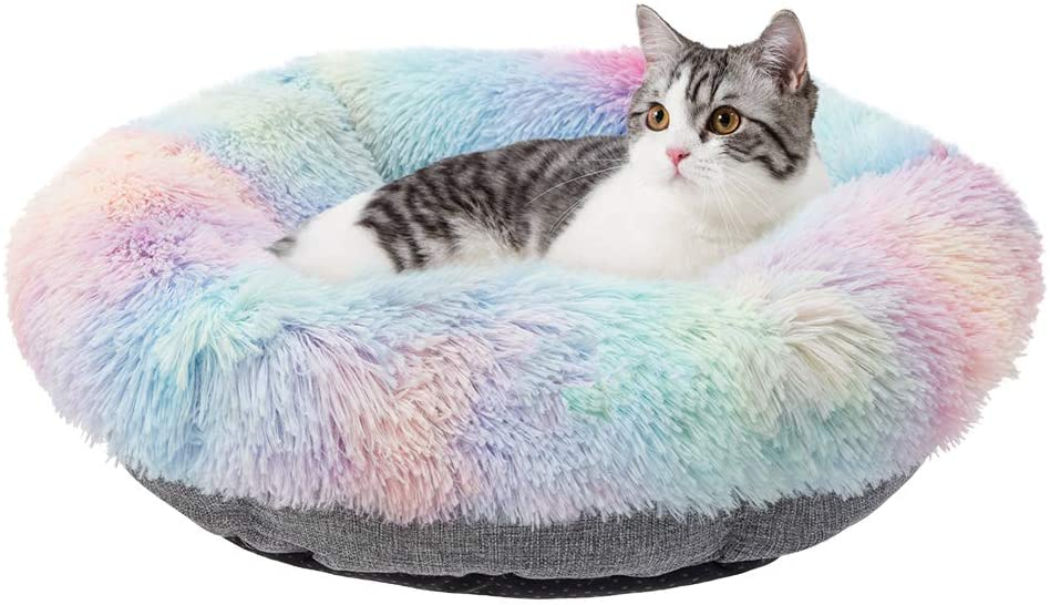KOOLTAIL Marshmallow Pet Bed - Super Soft Plush Calming Cat Bed Mat, Soft Plush Surface Pet Bed Furry Cushion Bed for All Season