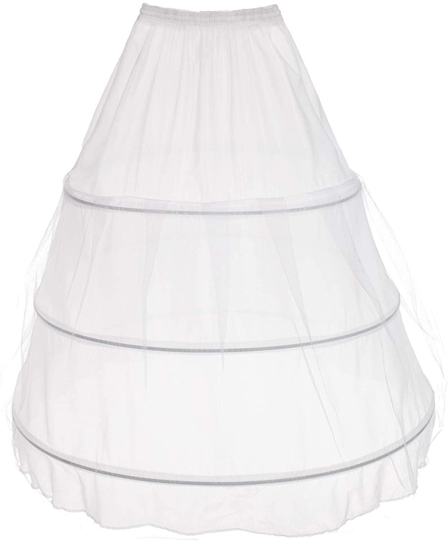 AW BRIDAL 3 Hoops Wedding Petticoat Elastic Ball Gown Half Slip Crinoline Underskirt