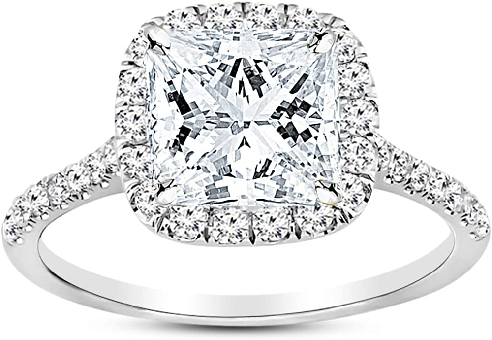 2 Carat 14K White Gold Halo GIA Certified Princess Cut Diamond Engagement Ring (1.5 Ct E Color VS2 Clarity Center Stone)