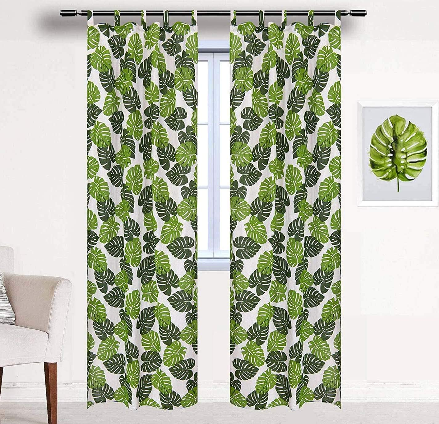 BROSHAN Plant Curtains for Bedroom 1 Panel,Tropical Palm Leaf Design Window Curtain Room Darkening for Modern Bedroom Drapes Green and White Tab Top