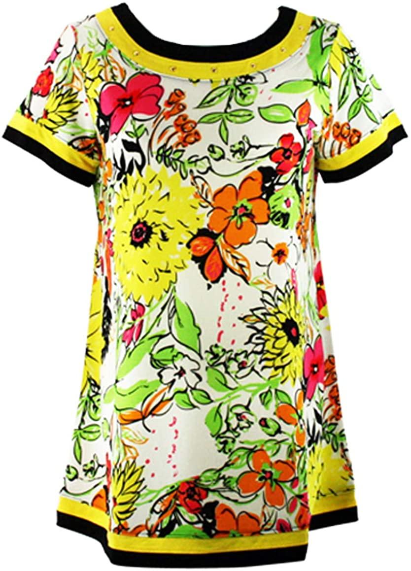 Isabel Clothing - Flower Power, Short Sleeve Hem & Neckline Trimmed Floral Print