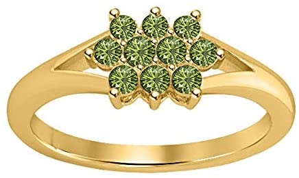 Gold & Diamonds Jewellery 0.27ct Round Cut White Enehanced 14k Yellow Gold Plated Green Tourmaline Cluster Engagement Ring for Womens.