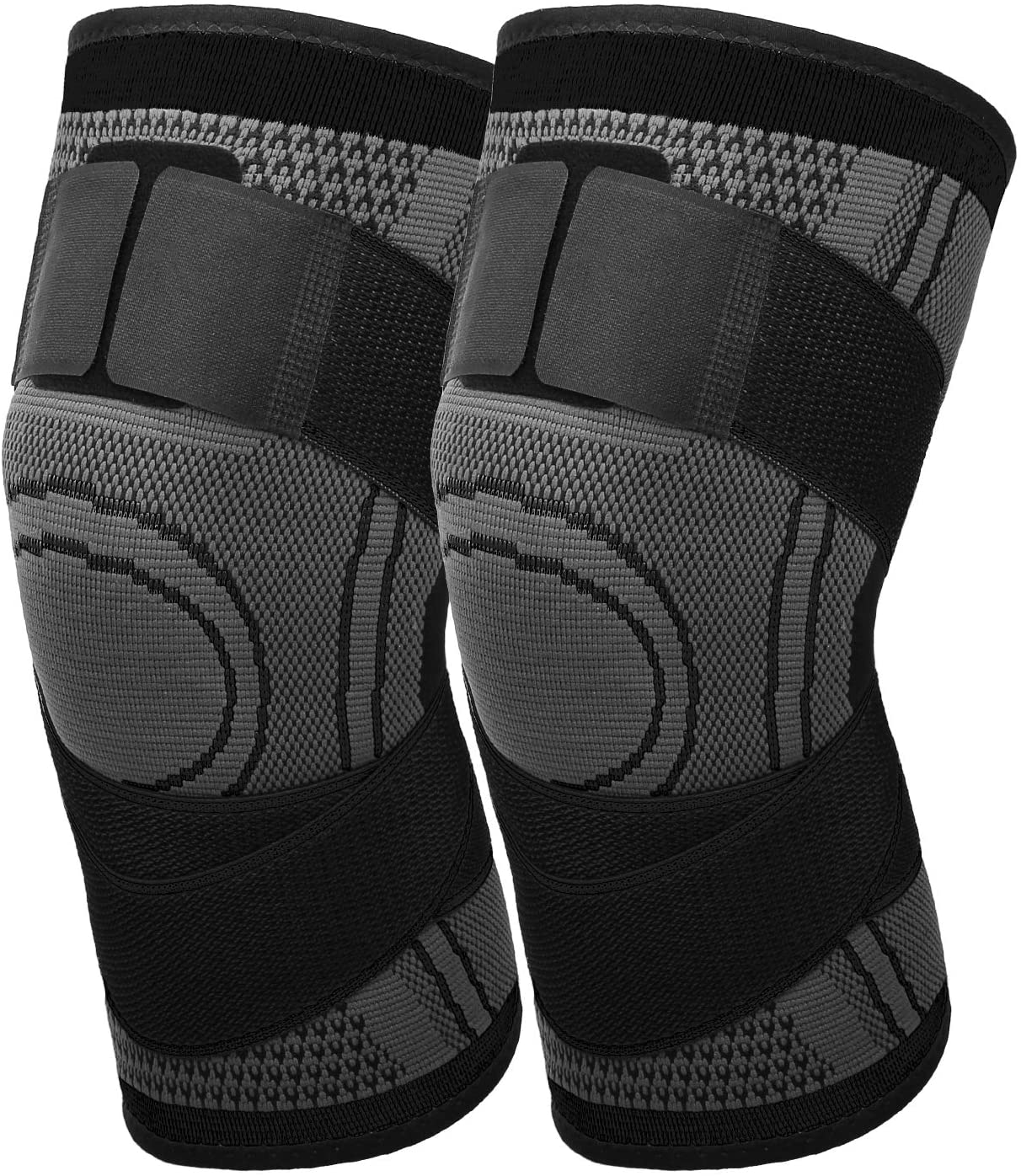 MoKo Knee Braces for Knee Pain [2 Pack], Women Men Adjustable Knee Compression Sleeve Stabilizers Support with Straps for Arthritis Meniscus Tear, Running, Sport, Weightlifting, Basketball, Volleyball