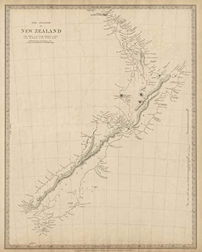 Pre-European Maori New Zealand. Tavai Poenammoo Eaheinomauwe. SDUK - 1844 - Old map - Antique map - Vintage map - Printed maps of New Zealand