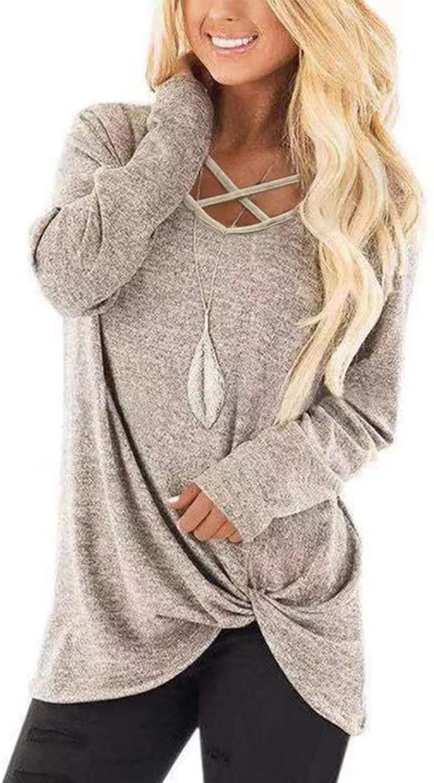 NIASHOT Womens Long Sleeves Tops V Neck Casual Fall Sweaters Shirts