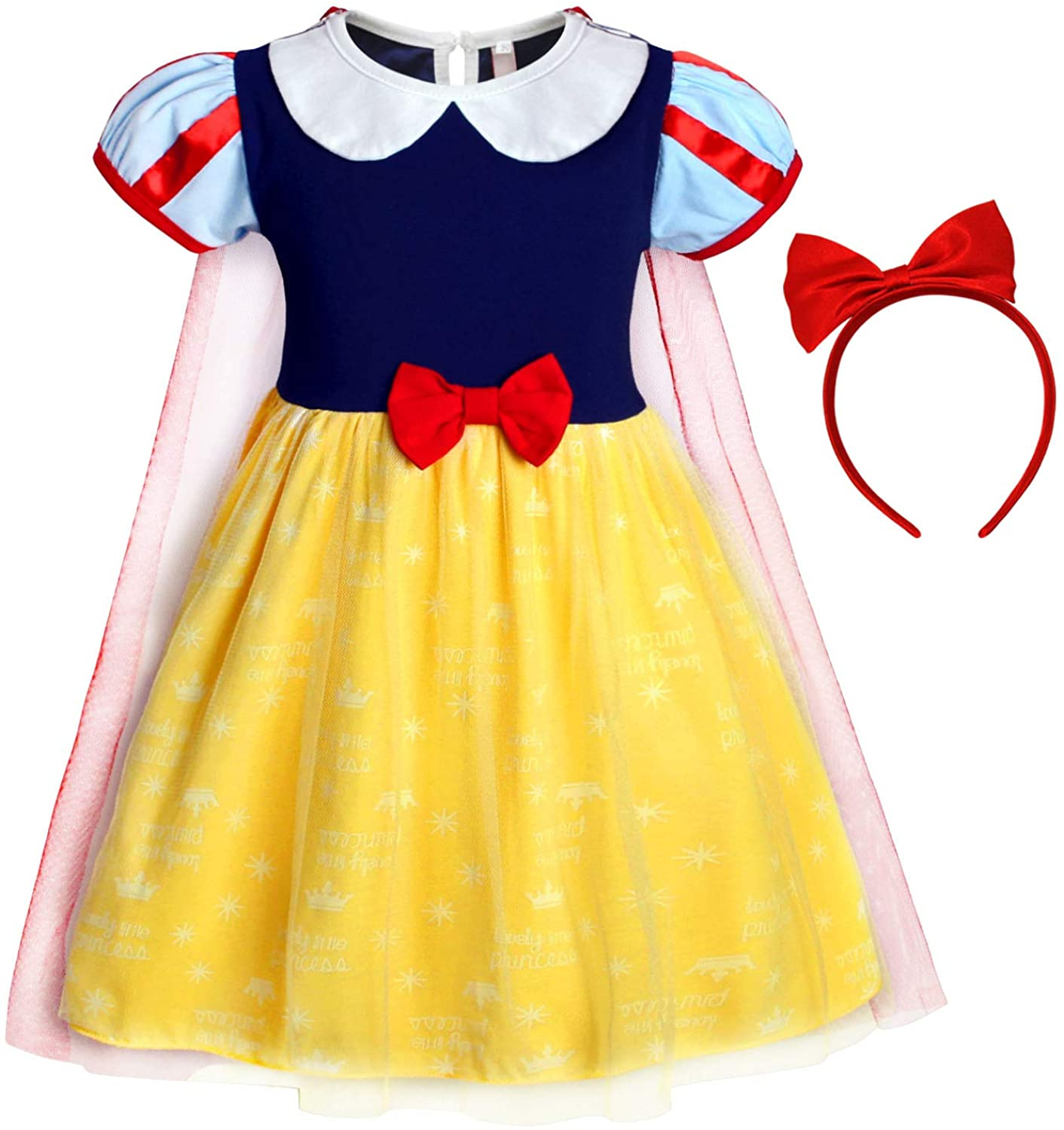 AmzBarley Girls Princess Costume Outfits Dress Halloween Birthday Party Dress Up Cotton Dress with Bowknot Headband