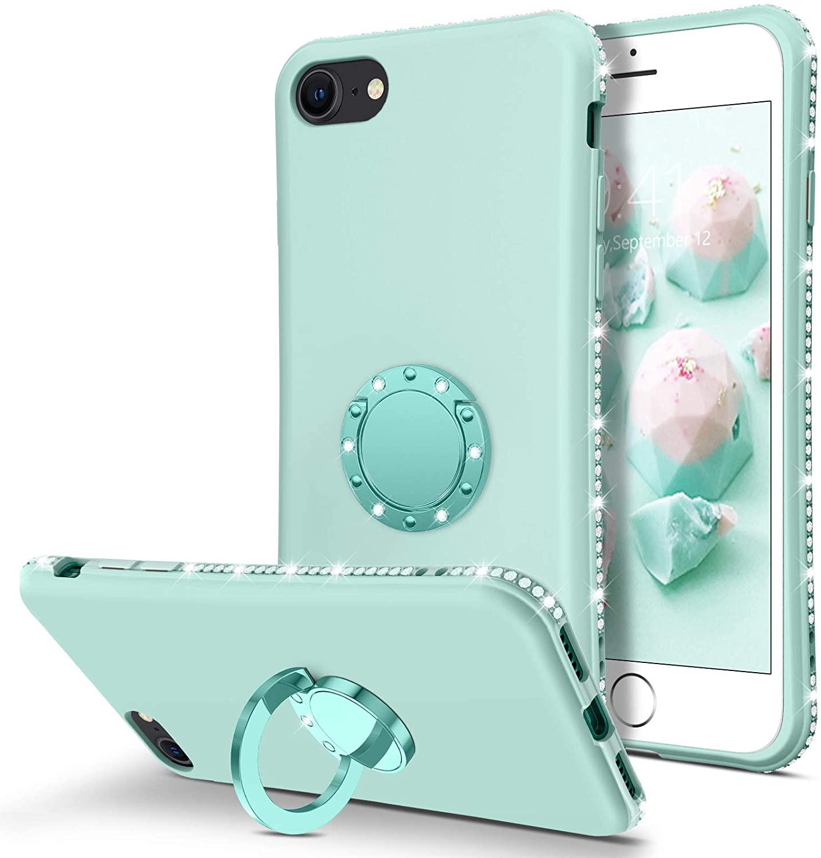 BENTOBEN iPhone SE 2020 Case, iPhone 8/7 Case, Slim Silicone Rhinestone Bumper 360° Ring Holder Kickstand Soft Rubber Shockproof Non-Slip Cover Women Girl Phone Case for iPhone SE 2020/8/7, Mint Green