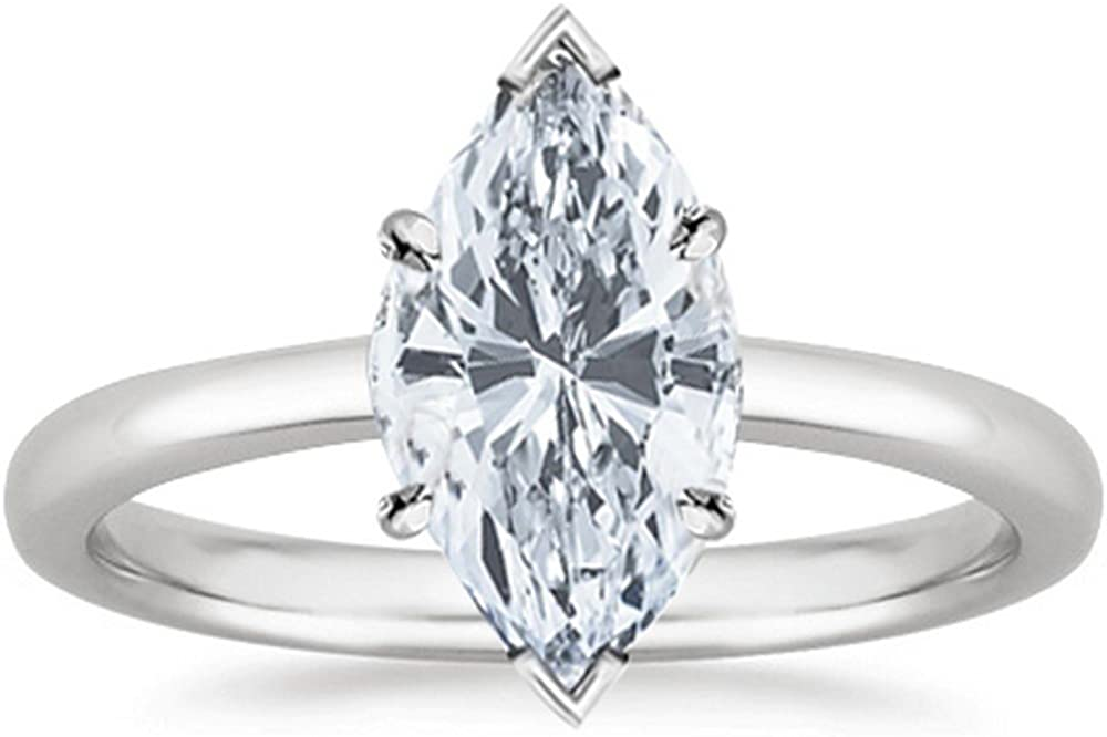 2 Carat GIA Certified Platinum Solitaire Marquise Cut Diamond Engagement Ring (2 Ct G-H Color, I1 Clarity)